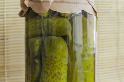 Canned cucumbers. In a jar Royalty Free Stock Photography