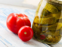 Canned cucumbers and tomatoes Royalty Free Stock Images