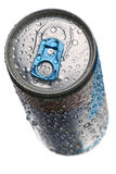 Canned drink. With condensation on pure white background. Shallow dof, focus is on the front of the top Stock Images