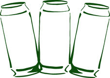 Canned_drink. Three tins with canned drink close up Stock Photography