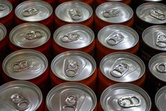 Canned drinks in a row. Top view of canned drinks in a row royalty free stock photo
