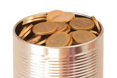 Canned euro coins Stock Images