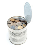 Canned European money Stock Photo