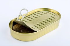 Canned fish. Open tin with canned fish Stock Images