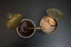 Canned fish and beans Stock Photo