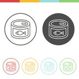 Canned fish  icons in thin line style. Vector set of canned fish icons in thin line style Stock Photography