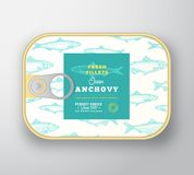 Canned Fish Label Template. Abstract Vector Fish Aluminium Container with Label Cover. Packaging Design. Modern. Typography and Hand Drawn Anchovy Silhouette vector illustration