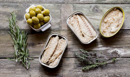 Canned fish and olives Stock Photos