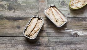 Canned fish and olives Stock Photography