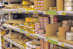 Canned fish in shop stock images
