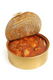 Canned fish in tomato sauce stock photos