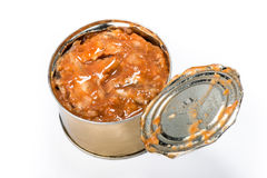 Canned fish in tomato sauce Royalty Free Stock Images