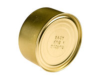 Canned food. Bank of canned food close up, isolated on white, clipping path included Royalty Free Stock Photo