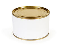 Canned food. On a white royalty free stock photo
