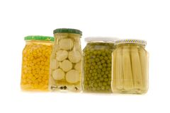 Canned food. On white ground stock image