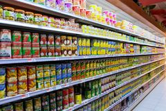 Canned food Aisle in Asian Supermarket. Photograph of canned fruits aisle in a typical Asian supermarket. Photo taken on March 21, 2015 Royalty Free Stock Photo
