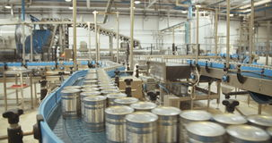 Canned food automated production line. Canned corn automated production line stock video