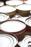 Canned food background with nobody.  Stock Images