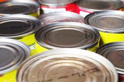 Canned Food Background with nobody. Non parishable donated food cans with nobody background Royalty Free Stock Photo
