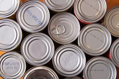 Canned Food Background with nobody. Non parishable donated food cans with nobody background royalty free stock photos