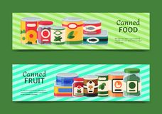 Canned food banner vector illustration. Vegetable product tinned container metal packaging. Soup conserve package can. Healthy goods grocery cooking canning royalty free illustration