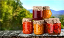Canned food. Can preserved vegetable food stack bean royalty free stock photography