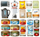 Canned food and electronic kitchen devices. Illustration vector illustration