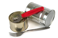 Canned food and fork Stock Image