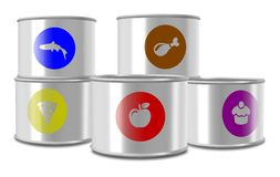 Canned food. A group of white cans with different type of food in them Royalty Free Stock Photo