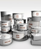 Canned food with junk food label Stock Images
