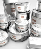 Canned food with junk food label Royalty Free Stock Image