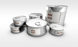 Canned food with junk food label Royalty Free Stock Images