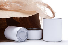 Canned Food with Open Grocery Bag Royalty Free Stock Photo