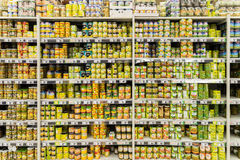 Canned Food On Supermarket Stand Stock Image