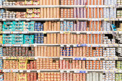 Canned Food On Supermarket Stand Royalty Free Stock Photo