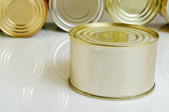Canned food in tin cans. Royalty Free Stock Photography