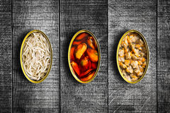 Canned food. Top view. Royalty Free Stock Photo