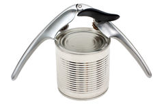 Canned foods and can-opener Royalty Free Stock Photography