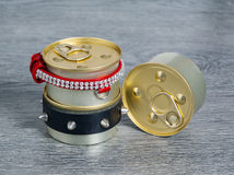 Canned foods for cats and dogs. Canned round form for cats and dogs. Food. unopened stock photography
