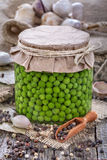 Canned fresh domestic peas Royalty Free Stock Images