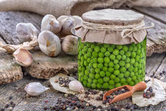 Canned fresh domestic peas Stock Images