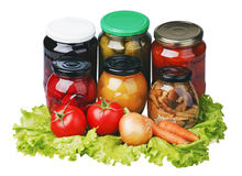 Canned and fresh fruits and vegetables Royalty Free Stock Images