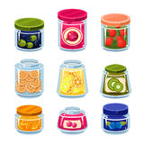 Canned Fruit and Vegetables in Cans Stock Photos