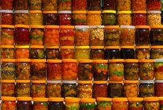 Canned fruits. A lot of jars with assorted canned fruits Royalty Free Stock Image