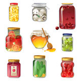 Canned fruits and vegetables. 9 canned fruits and vegetables icons stock illustration