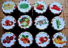 Canned fruits and vegetables for the winter Stock Photography