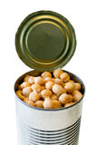 Canned garbanzo beans. Top of an open garbanzo beans can isolated on white background, without the lid-healthy food concept royalty free stock image