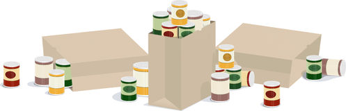 Canned good banner. A horizontal  illustration of overflowing sacks of canned goods Royalty Free Stock Images