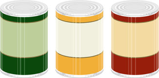 Canned Goods. A illustration of 3 generic canned goods royalty free illustration