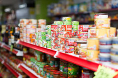 Canned goods at groceries section of average Polish supermarket Stock Image